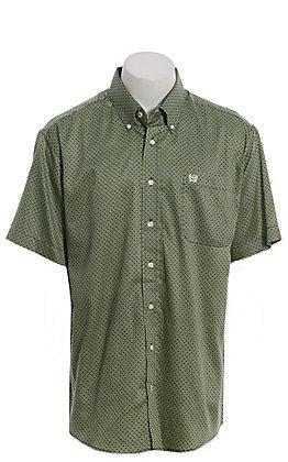 Cinch Men's Tencel Black & Lime Geo Print Short Sleeve Western Shirt