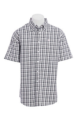 Cinch Men's White Plaid Short Sleeve Western Shirt
