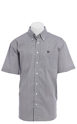 Cinch Men's Grey and Pink Print Short Sleeve Western Shirt