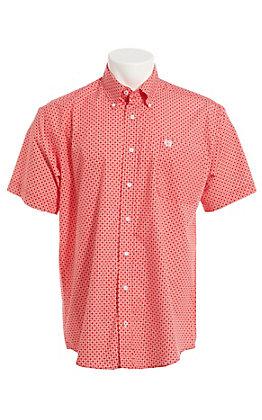 Cinch Cavender's Exclusive Men's Red Geo Print Short Sleeve Button Down Western Shirt