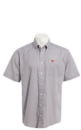 Cinch Cavender's Exclusive Men's White With Red And Blue Geo Print Short Sleeve Western Shirt