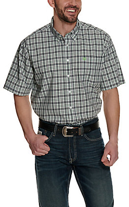 Cinch Men's White with Black and Green Plaid Short Sleeve Western Shirt
