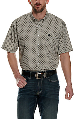 Cinch Men's Grey with Black Oval Print Short Sleeve Western Shirt