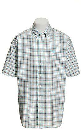 Cinch Men's White with Turquoise, Navy and Tan Plaid Short Sleeve Western Shirt