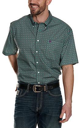 Cinch Men's Teal and Burgundy Medallion Print Short Sleeve Western Shirt