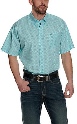 Cinch Men's Light Blue Geo Print Short Sleeve Western Shirt