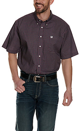 Cinch Men's Burgundy Geo Print Short Sleeve Western Shirt