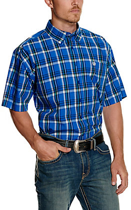 Cinch Men's Royal Blue Plaid Short Sleeve Western Shirt