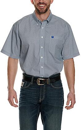 Cinch Men's White with Blue & Black Circle Print Short Sleeve Western Shirt