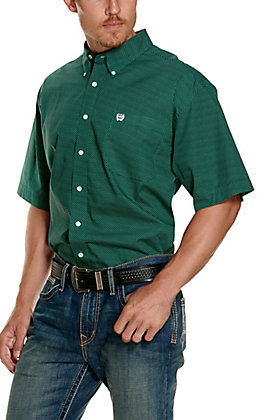 Cinch Men's Green and Black Triangle Print Short Sleeve Western Shirt