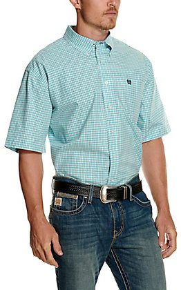 Cinch Men's Turquoise and White Plaid Short Sleeve Western Shirt