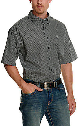 Cinch Men's Black and White Circle Print Short Sleeve Western Shirt