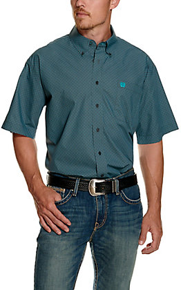 Cinch Men's Grey with Turquoise Square Print Short Sleeve Western Shirt