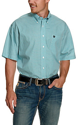 Cinch Men's White with Light Blue Basketweave Print Short Sleeve Western Shirt