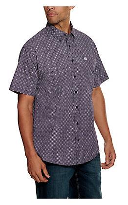 Cinch Men's ArenaFlex Purple with White Diamond Print Short Sleeve Western Shirt