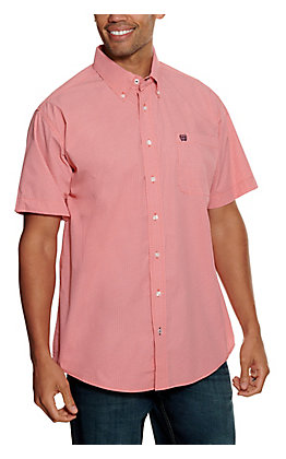 Cinch Men's ArenaFlex Coral with White and Purple Geo Print Short Sleeve Western Shirt