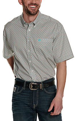 Cinch Men's Turquoise and Brown Geo Print Short Sleeve Western Shirt - Cavender's Exclusive