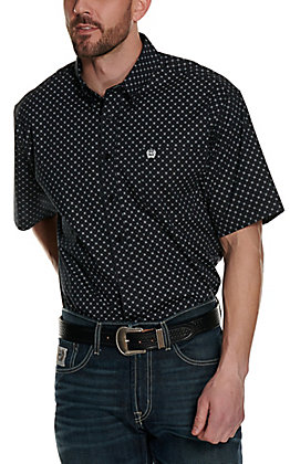 Cinch Men's Black with White Dot Print Short Sleeve Western Shirt - Cavender's Exclusive