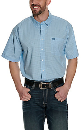 Cinch Men's Light Blue with White and Teal Grid Print Short Sleeve Western Shirt - Cavender's Exclusive