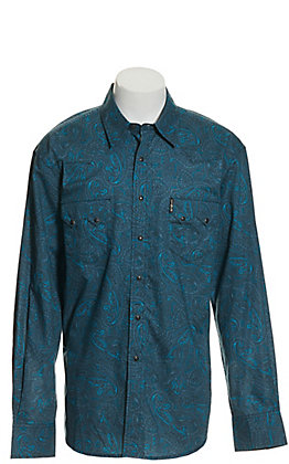 Cinch Men's Modern Fit Blue Paisley Print Long Sleeve Western Shirt