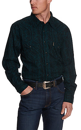 Cinch Men's Modern Fit Teal & Black Scrolling & Stripes Long Sleeve Western Shirt