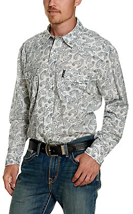 Cinch Men's Modern Fit White with Navy and Turquoise Paisley Print Long Sleeve Western Shirt