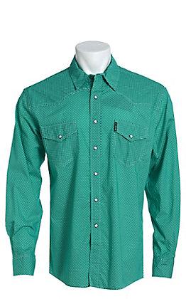 Cinch Men's Modern Fit Green Geo Print Long Sleeve Western Shirt
