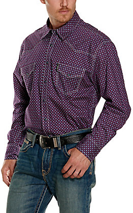 Cinch Men's Modern Fit Blue and Red Geo Print Long Sleeve Western Shirt