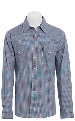 Cinch Modern Fit Men's Navy & White Geo Print Long Sleeve Western Shirt