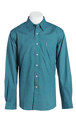 Cinch Modern Fit Men's Turquoise Geo Print Long Sleeve Western Shirt