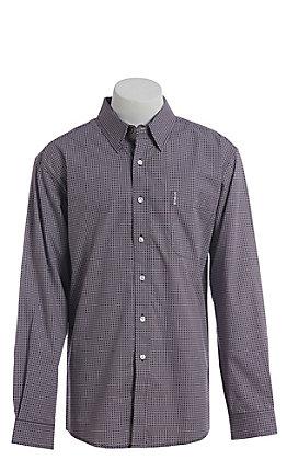 033ba8047376 Cinch Men s Modern Purple Geo Square Print Western Long Sleeve Button Down  Shirt