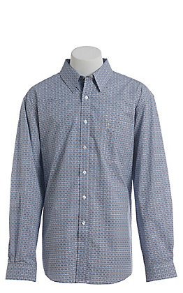 Cinch Men's Modern Blue Medallion Print Long Sleeve Western Button Down Shirt