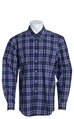 Cinch Men's Modern Fit Purple And Lime Plaid Long Sleeve Western Shirt