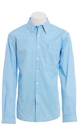 Cinch Modern Fit Men's Blue and White Geo Print Long Sleeve Western Shirt