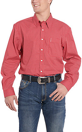 Cinch Men's Modern Fit Red Geo Print Long Sleeve Western Shirt