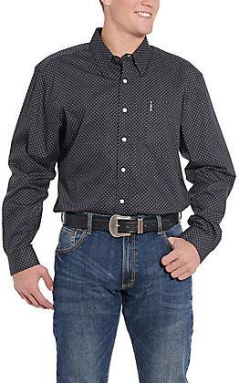 Cinch Men's Modern Fit Navy Geo Print Long Sleeve Western Shirt
