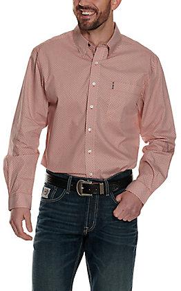Cinch Men's Modern Fit Orange with White Geo Print Long Sleeve Western Shirt