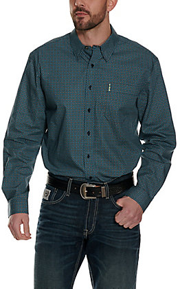 Cinch Men's Modern Fit Navy with Teal & Lime Geo Print Long Sleeve Western Shirt