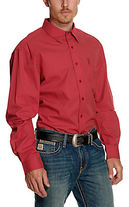 Cinch Men's Modern Fit Red Geo Print Long Sleeve Western Shirt
