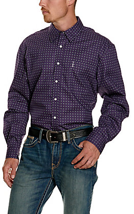 Cinch Men's Modern Fit Purple Geo Print Long Sleeve Western Shirt