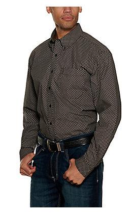 Cinch Men's Black and Burgundy Geo Print Modern Fit Long Sleeve Western Shirt