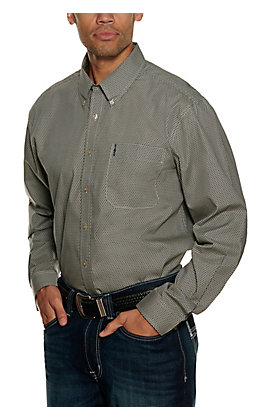 Cinch Men's Black and Gray Geo Print Modern Fit Long Sleeve Western Shirt