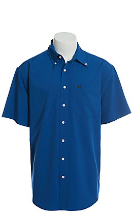 Cinch Men's ArenaFlex Solid Blue Short Sleeve Button Down Western Shirt