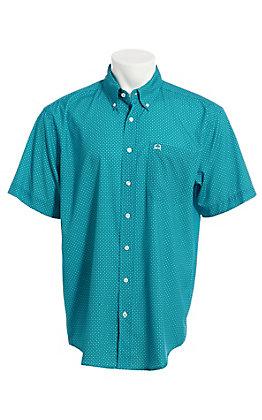 Cinch Men's ArenaFlex Turquoise Geo Print Short Sleeve Button Down Western Shirt
