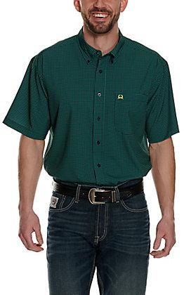 Cinch Men's ArenaFlex Navy with Teal Dot Print Short Sleeve Shirt