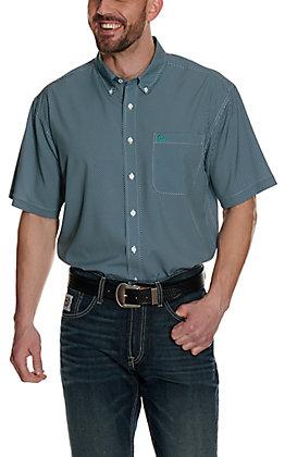 Cinch Men's ArenaFlex Navy with Turquoise Diamond Print Short Sleeve Shirt