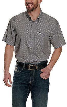 Cinch Men's ArenaFlex Grey Geo Print Short Sleeve Shirt