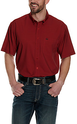 Cinch Men's ArenaFlex Red with Black Print Short Sleeve Shirt