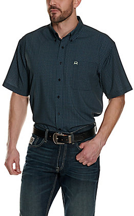 Cinch Men's ArenaFlex Navy with Teal Print Short Sleeve Shirt