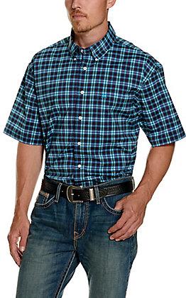 Cinch Men's ArenaFlex Blue and Purple Plaid Short Sleeve Shirt